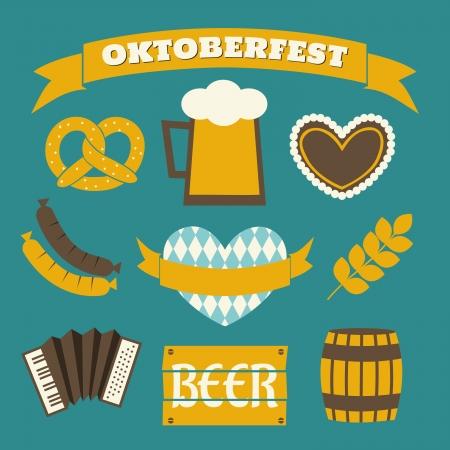 comida alemana: Un conjunto de iconos de diseño de planos y una bandera para la Oktoberfest en azul, amarillo y blanco. Vectores