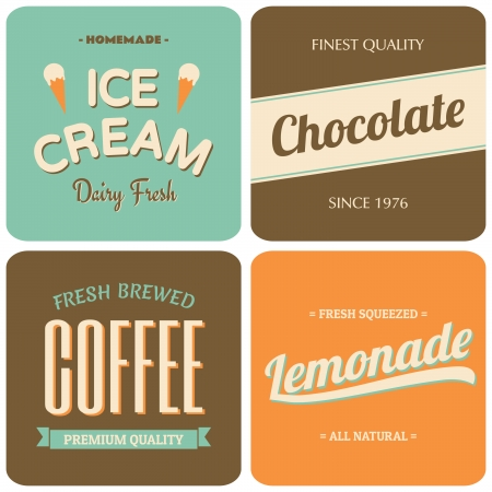 A set of four retro designs - packaging for coffee, ice cream, chocolate and lemonade. Vector
