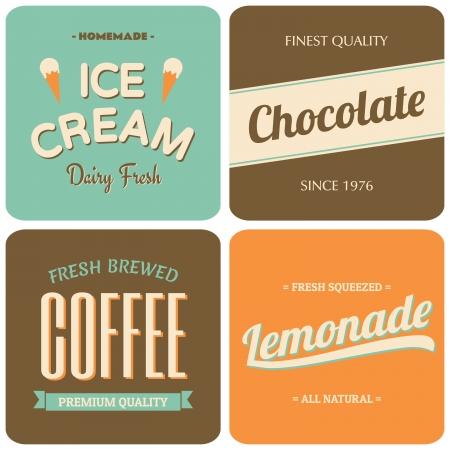 lemonade: A set of four retro designs - packaging for coffee, ice cream, chocolate and lemonade.