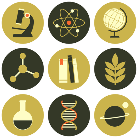 A set of flat design science and education icons isolated on white. Vector