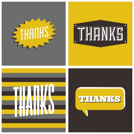 A set of four retro design greeting cards for Thanksgiving Day.