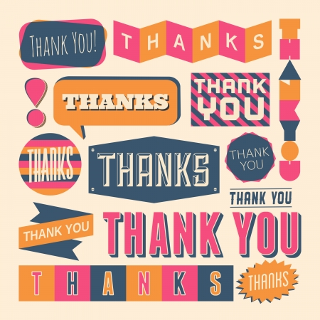 A set of retro style Thank You design elements. Vector