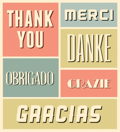 Vintage style poster with the words Thank You in different languages.