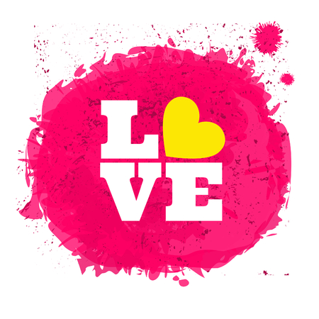 Pink watercolor design for Valentines Day isolated on white.  Vector