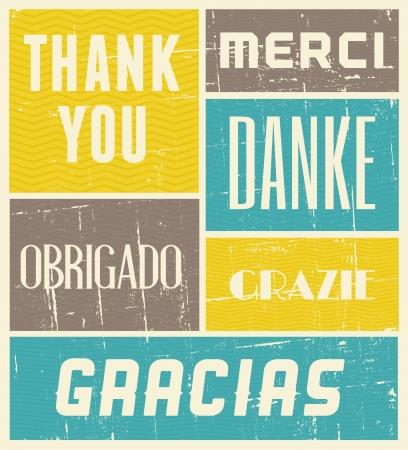 merci: Affiche de style vintage avec les mots �merci� en diff�rentes langues.