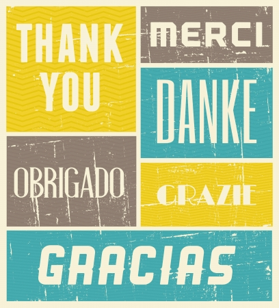 blue you: Vintage style poster with the words Thank You in different languages.