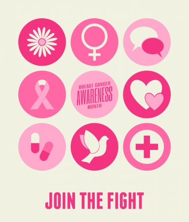 Breast Cancer Awareness card design with different symbols in pink. Vector
