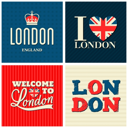 A set of typographic design London greeting cards.