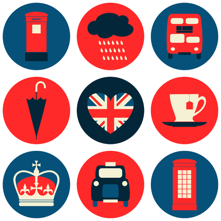 A set of nine flat design icons with London symbols.