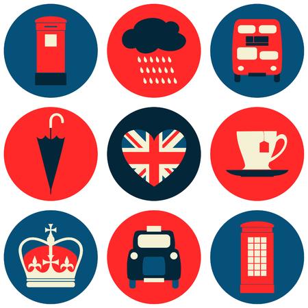 british culture: A set of nine flat design icons with London symbols.