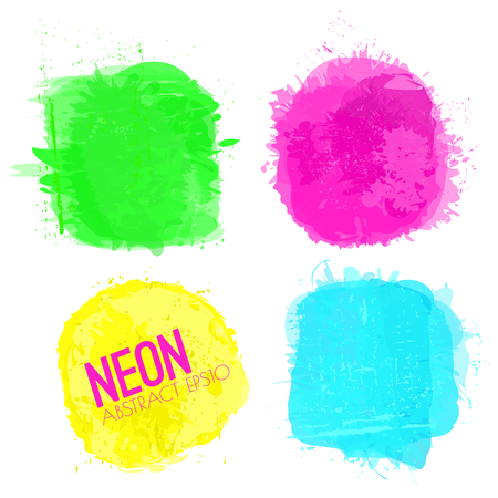 A set of neon color squares with copy-space isolated on white.