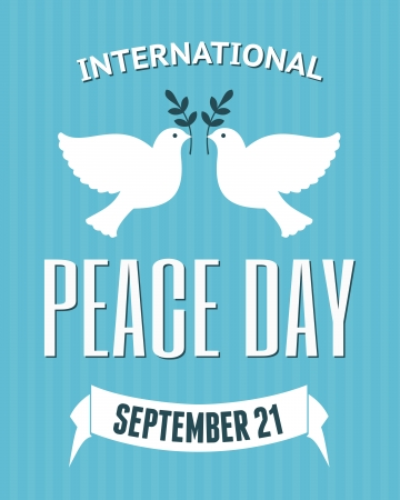 dove of peace: Vintage poster for the International Day of Peace with a dove carrying an olive branch. Illustration