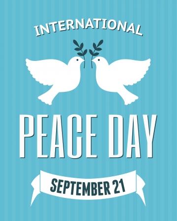 ast: Weinlese-Plakat für den Internationalen Tag des Friedens mit einer Taube, die einen Ölzweig.