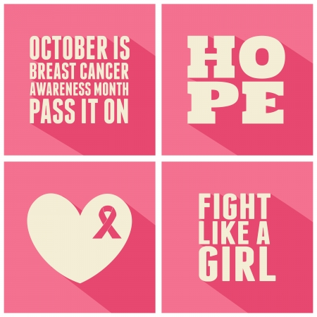 breast cancer: A set of Breast Cancer Awareness cards.