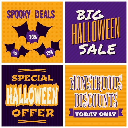 A set of Halloween Sale poster designs. Stock Vector - 22681497