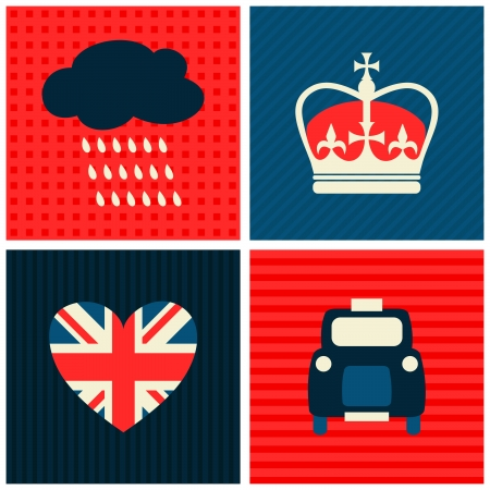 queen of hearts: A set of greeting cards with London symbols. Illustration