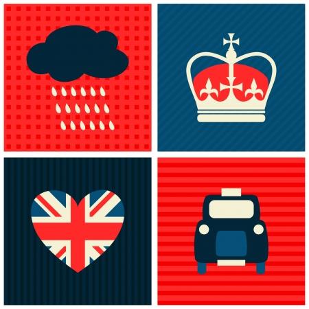 queen crown: Un conjunto de tarjetas de felicitación con símbolos de Londres. Vectores