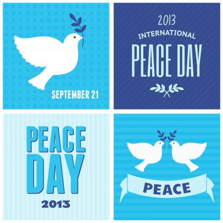 dove of peace: A set of retro style posters for the International Day of Peace. Illustration