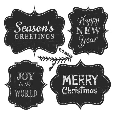 christmas: Beyaz zemin üzerine izole Noel ve Yeni Yıl için kara tahta tarzı klasik etiketler. Çizim