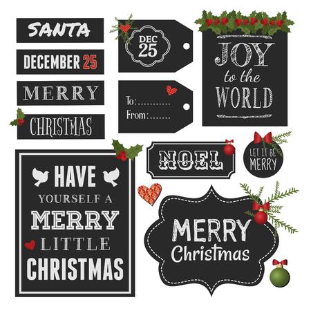 christmas design: Bord stijl vintage design elementen voor Kerstmis en Nieuwjaar, geïsoleerd op een witte achtergrond.