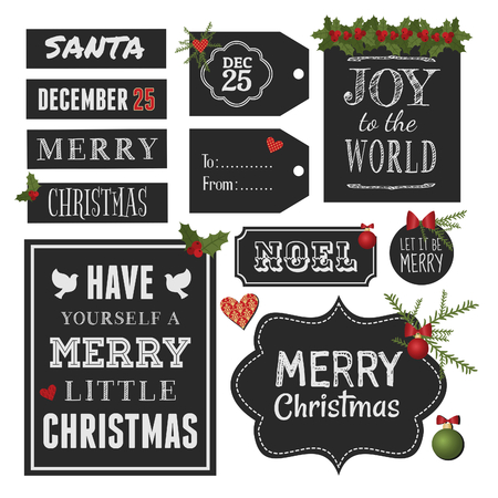 Chalkboard style vintage design elements for Christmas and New Year, isolated on white background.