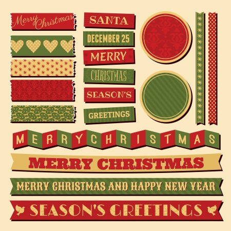 A set of vintage design elements for Christmas in traditional red, green and gold colors. Vector