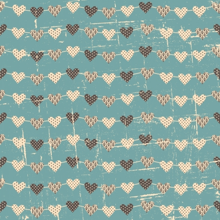 Seamless Christmas pattern with hearts against blue background. Vector
