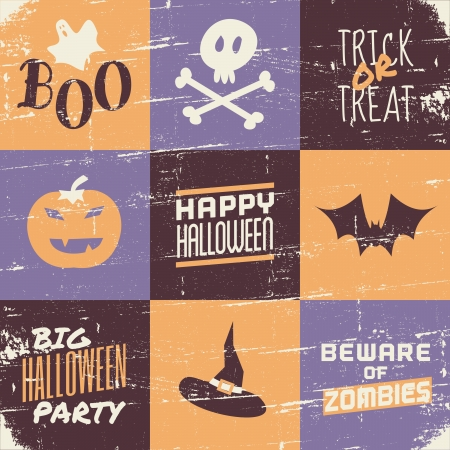 Vintage style greeting card for Halloween. Vector