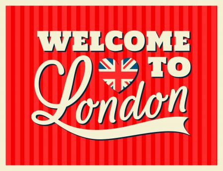 Retro typographic London greeting card design. Vector