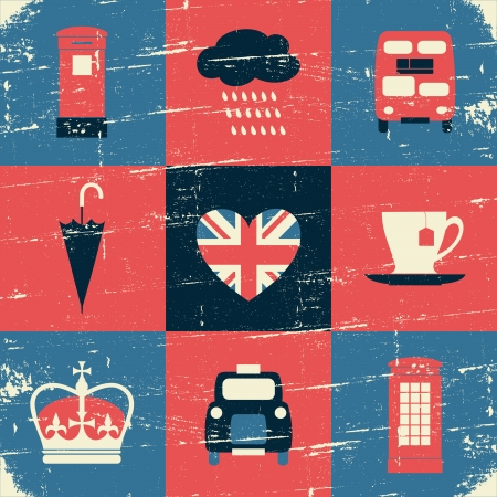 Vintage style London greeting card design. Vector