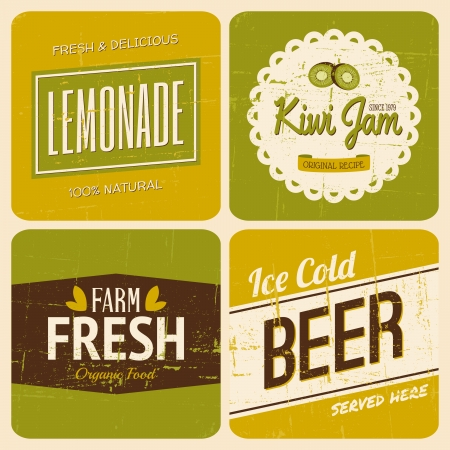 tin packaging: A set of four retro packaging designs for lemonade, kiwi jam, beer and farm fresh products.