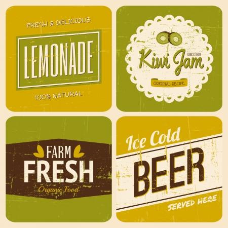 lemonade: A set of four retro packaging designs for lemonade, kiwi jam, beer and farm fresh products.