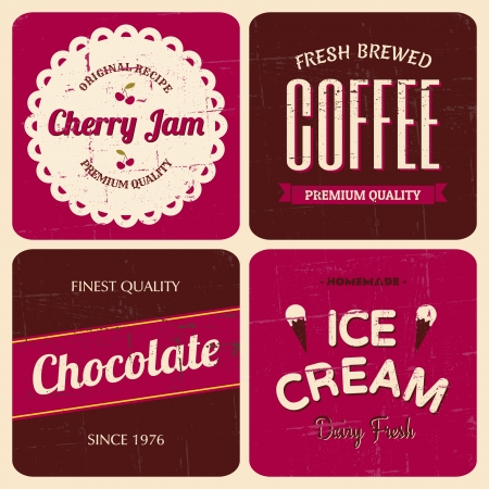 A set of four retro packaging designs for coffee, cherry jam, chocolate and ice cream. Vector