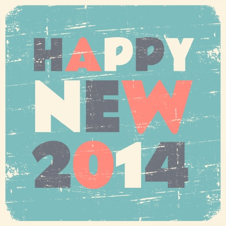 Happy New 2014 vintage style card. Vector