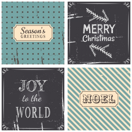 A set of four vintage style greeting cards for Christmas. Vector