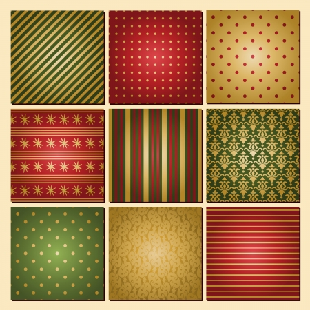A set of Christmas backgrounds in traditional red, green and golden. Vector