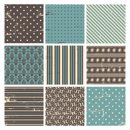 A set of vintage Christmas backgrounds in blue, white and brown. Vector