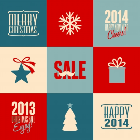 A set of retro Christmas and New Year cards in blue, red and white. Vector