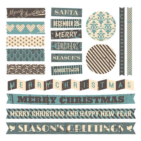 christmas: Noel için eski tasarım öğeleri kümesi beyaz izole. Çizim