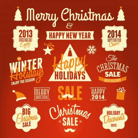 A set of retro style design elements for Christmas.  Vector
