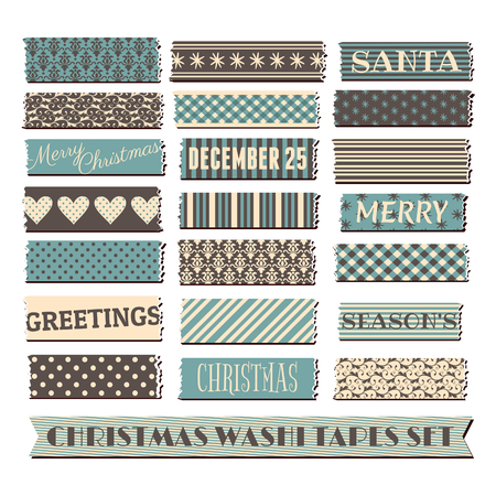 A set of strips of Christmas washi tape in blue, brown and cream. Vector