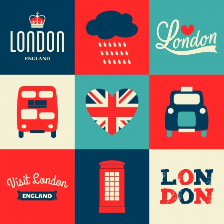 jack of hearts: A set of greeting cards with London symbols. Illustration