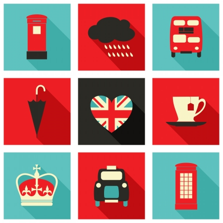 telephone booth: A set of long shadow icons with London symbols. Illustration