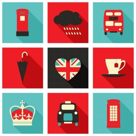 cabina telefono: Un conjunto de iconos de largas sombras con los símbolos de Londres.