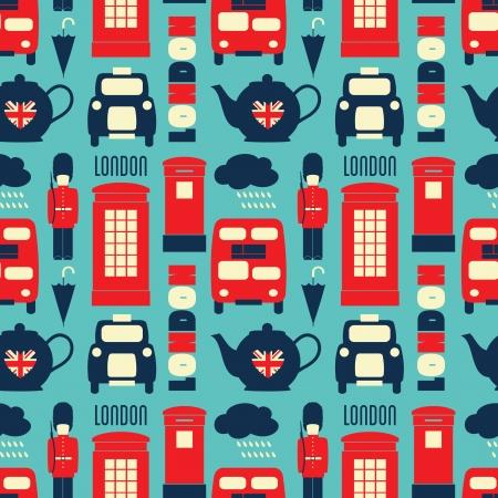 pattern: Naadloze herhaling patroon met Londen symbolen in rood, wit en blauw.