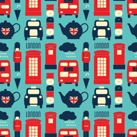 Seamless repeat pattern with London symbols in red, white and blue. Vector