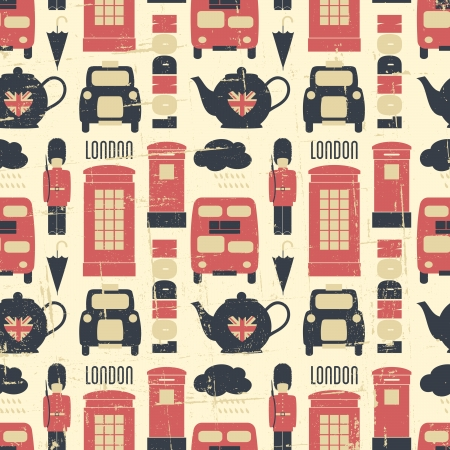 Vintage seamless pattern with London symbols. Vector