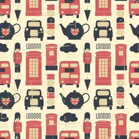 grunge union jack: Vintage seamless pattern with London symbols.