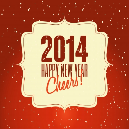 Happy New Year 2014 retro design greeting card. Vector