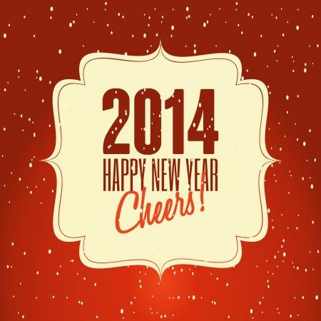 Happy New Year 2014 retro design greeting card. Stock Vector - 23516614